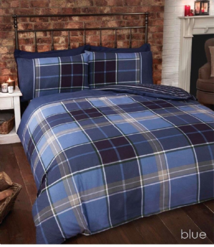 """Argyle"", Blue Tartan Check, Double, ""Finest Homeware"" by Rapport"